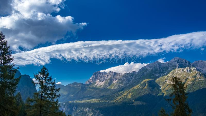 The Montasio group in the Julian Alps. A beautiful summer day in the Julian Alps in Friuli Venezia-Giulia, Italy royalty free stock photos
