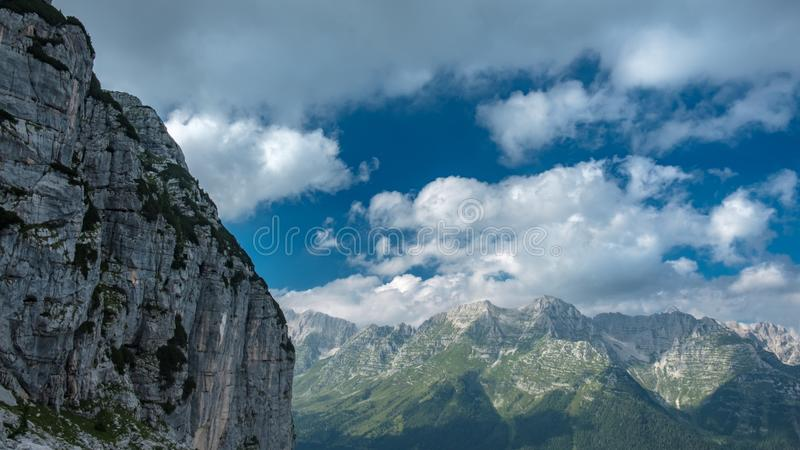The Montasio group in the Julian Alps. A beautiful summer day in the Julian Alps in Friuli Venezia-Giulia, Italy royalty free stock image