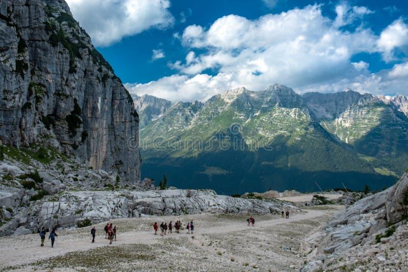 The Montasio group in the Julian Alps. A beautiful summer day in the Julian Alps in Friuli Venezia-Giulia, Italy stock photo