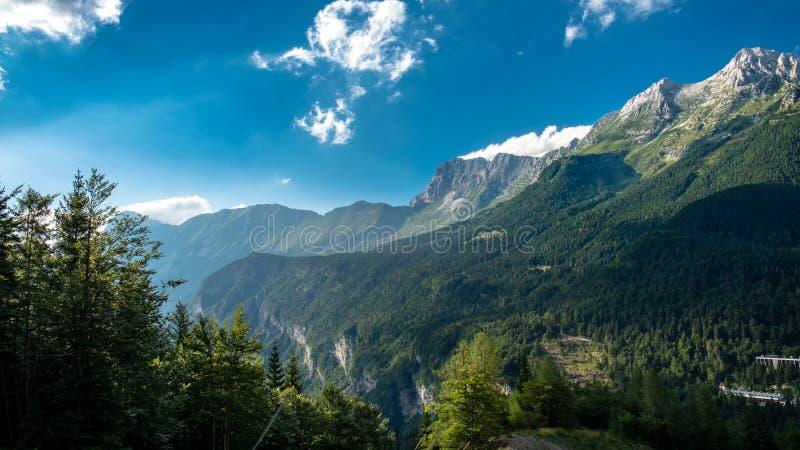 The Montasio group in the Julian Alps. A beautiful summer day in the Julian Alps in Friuli Venezia-Giulia, Italy stock image