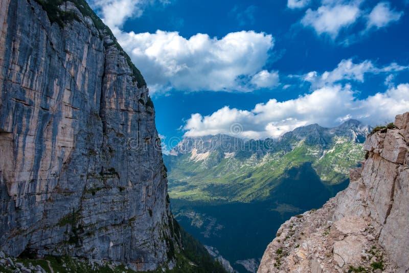 The Montasio group in the Julian Alps. A beautiful summer day in the Julian Alps in Friuli Venezia-Giulia, Italy royalty free stock photo