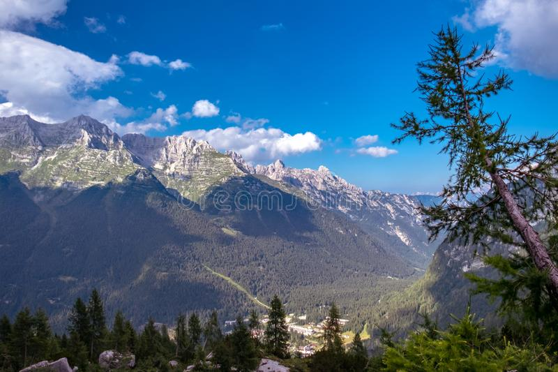 The Montasio group in the Julian Alps. A beautiful summer day in the Julian Alps in Friuli Venezia-Giulia, Italy royalty free stock photography