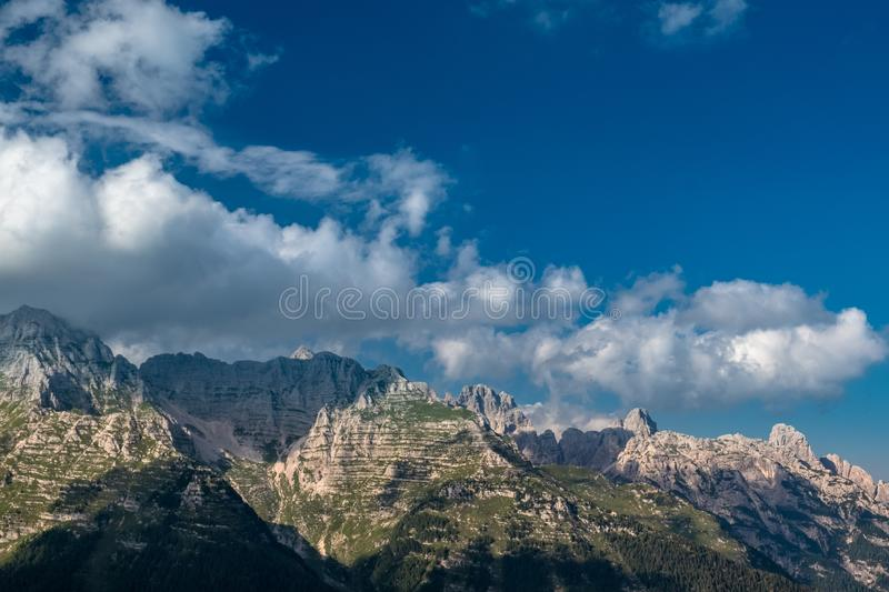 The Montasio group in the Julian Alps. A beautiful summer day in the Julian Alps in Friuli Venezia-Giulia, Italy royalty free stock images