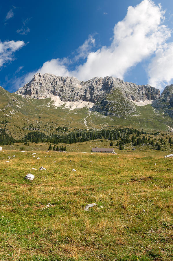 Montasio Plateau and Julian Alps. The high Plateau of Montasio with green pastures in summer and Julian Alps Jof di Montasio. Udine, Friuli Venezia Giulia, Italy royalty free stock images