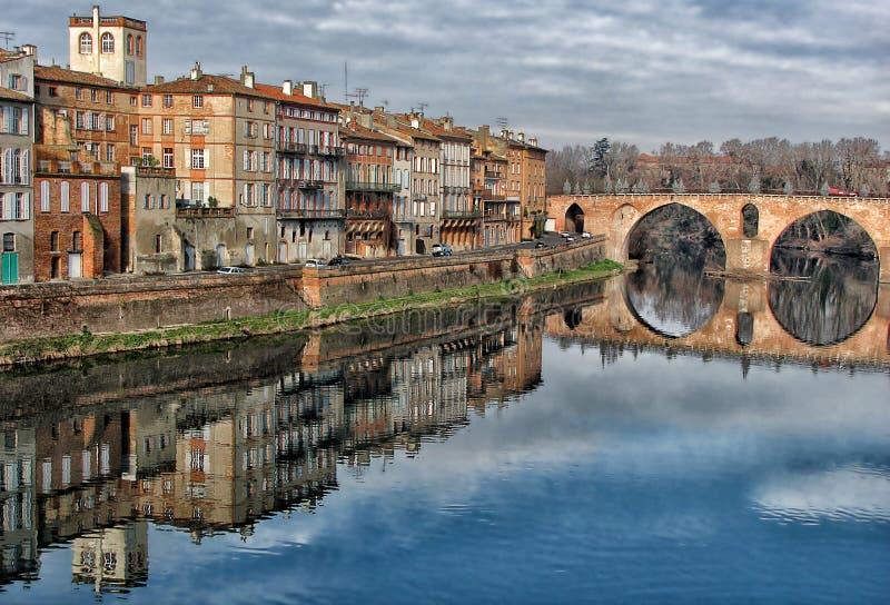 Montauban on Tarn. River - Pont Vieux royalty free stock photos
