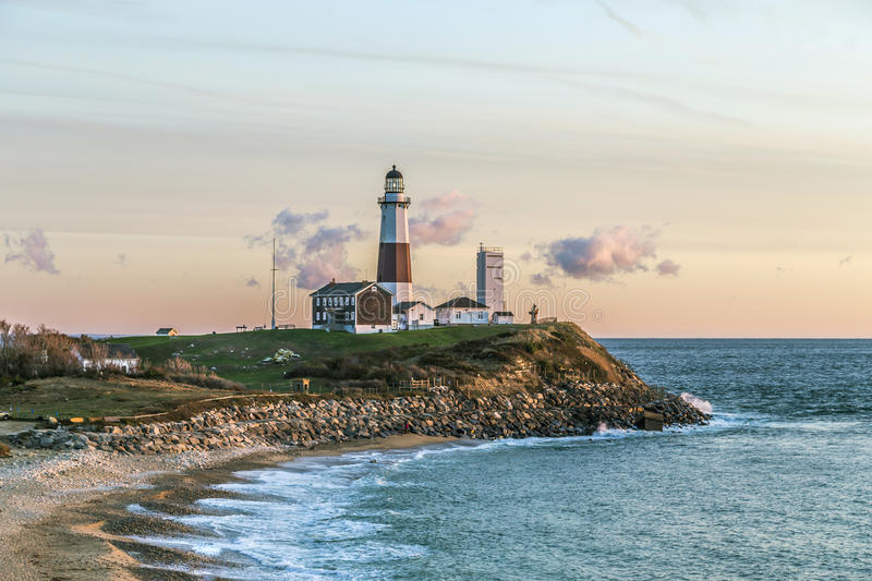 Montauk Point Light, Lighthouse, Long Island, New York, Suffolk royalty free stock image
