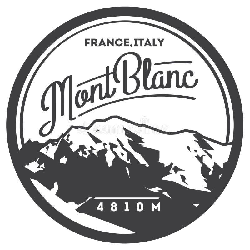 Montblanc en insignia al aire libre de la aventura de las montañas, Francia, Italia La montaña más alta en el ejemplo de Europa stock de ilustración