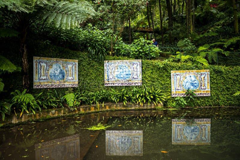 Monte的热带宫殿庭院在丰沙尔马德拉岛上 免版税库存照片