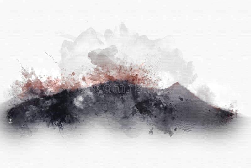 Monte abstrato da montanha no fundo da pintura da aquarela ilustração do vetor