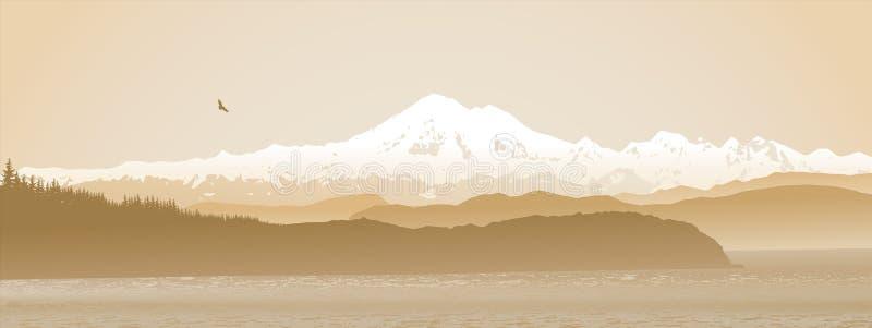 Monte al panadero, estado de Washington panorámico en sepia libre illustration