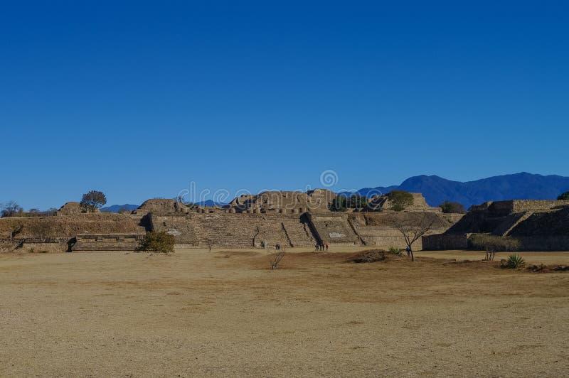 Monte Alban - as ruínas da civilização em Oaxaca, M de Zapotec fotografia de stock