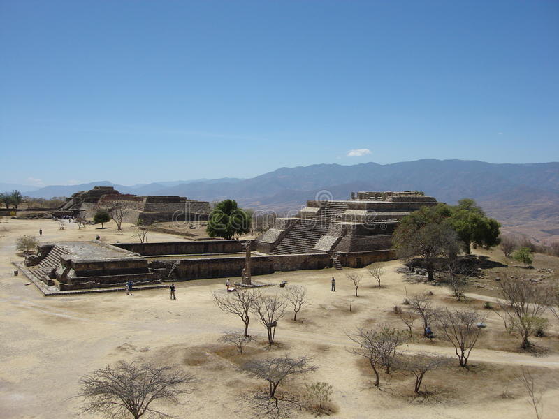 Monte Alban II. Ancient Zapotec Buildings at Monte Alban Oaxaca royalty free stock photography