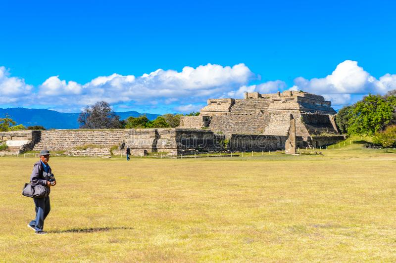 Monte Alban, a large pre-Columbian archaeological site. MONTE ALBAN, MEXICO - OCT 31, 2016: Monte Alban, a large pre-Columbian archaeological site, Santa Cruz stock photography