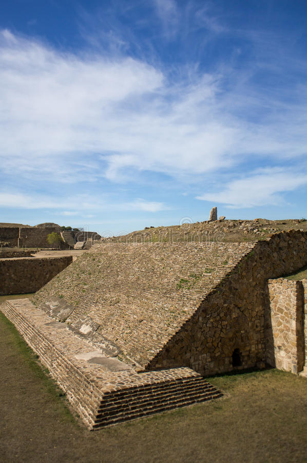 Monte Alban Oaxaca Mexico ancient ball game stadium one grandstand. Next to field royalty free stock photos