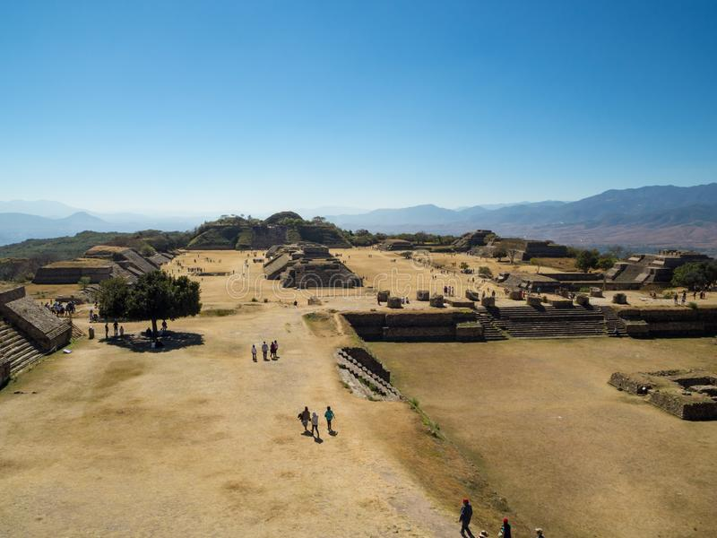 Monte Alban, Oaxaca, Mexico, South America: [Biggest ruins of ancient Zapotec city at the top. Monte Alban, Oaxaca, Mexico, South America - January 2018: [ royalty free stock photos