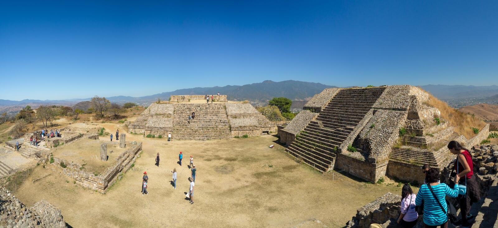 Monte Alban, Oaxaca, Mexico, South America: [Biggest ruins of ancient Zapotec city at the top. Monte Alban, Oaxaca, Mexico, South America - January 2018: [ stock photo