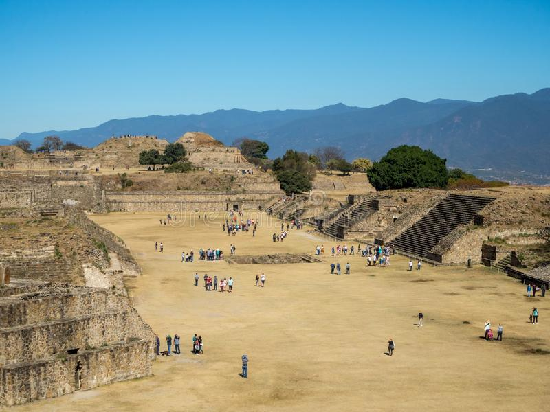 Monte Alban, Oaxaca, Mexico, South America: [Biggest ruins of ancient Zapotec city at the top. Monte Alban, Oaxaca, Mexico, South America - January 2018: [ stock image