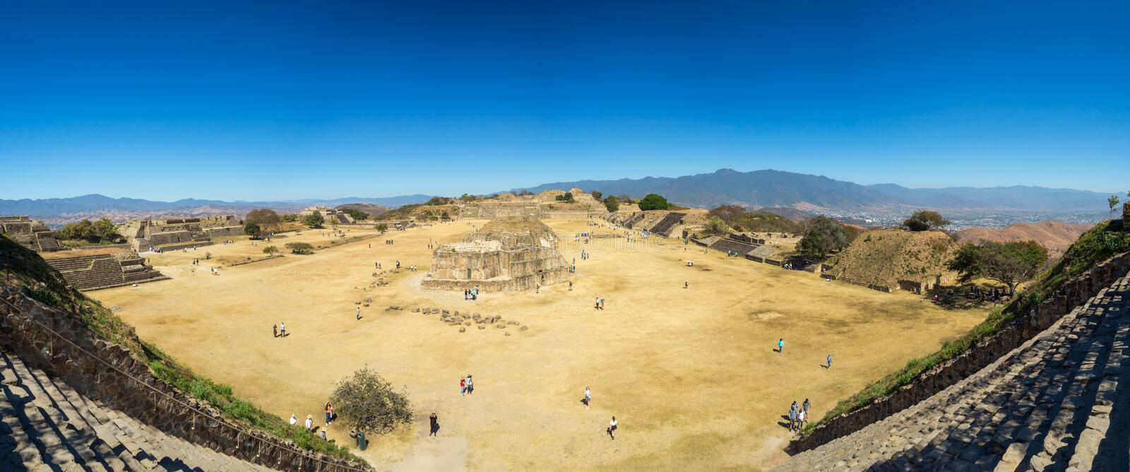 Monte Alban, Oaxaca, Mexico, South America: [Biggest ruins of ancient Zapotec city at the top. Monte Alban, Oaxaca, Mexico, South America - January 2018: [ royalty free stock photo