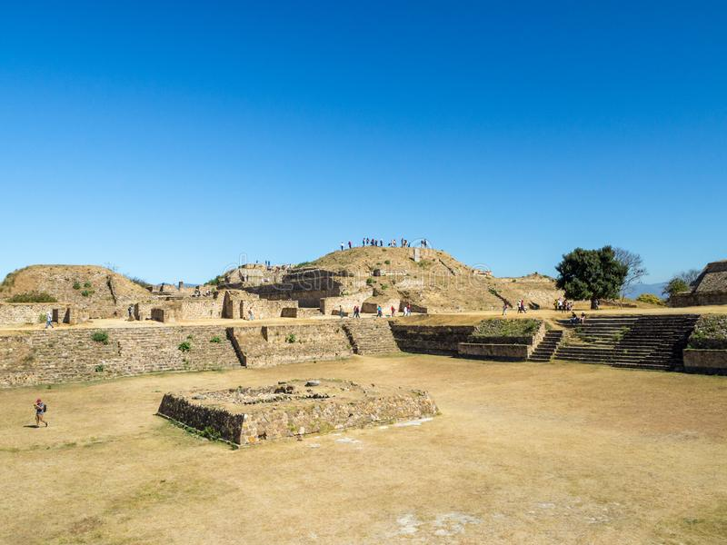 Monte Alban, Oaxaca, Mexico, South America : [Biggest ruins of ancient Zapotec city at the top of the mountain, UNES. Monte Alban, Oaxaca, Mexico, South America royalty free stock photos