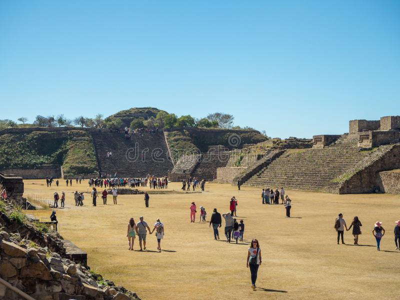 Monte Alban, Oaxaca, Mexico, South America : [Biggest ruins of ancient Zapotec city at the top of the mountain, UNES. Monte Alban, Oaxaca, Mexico, South America royalty free stock images