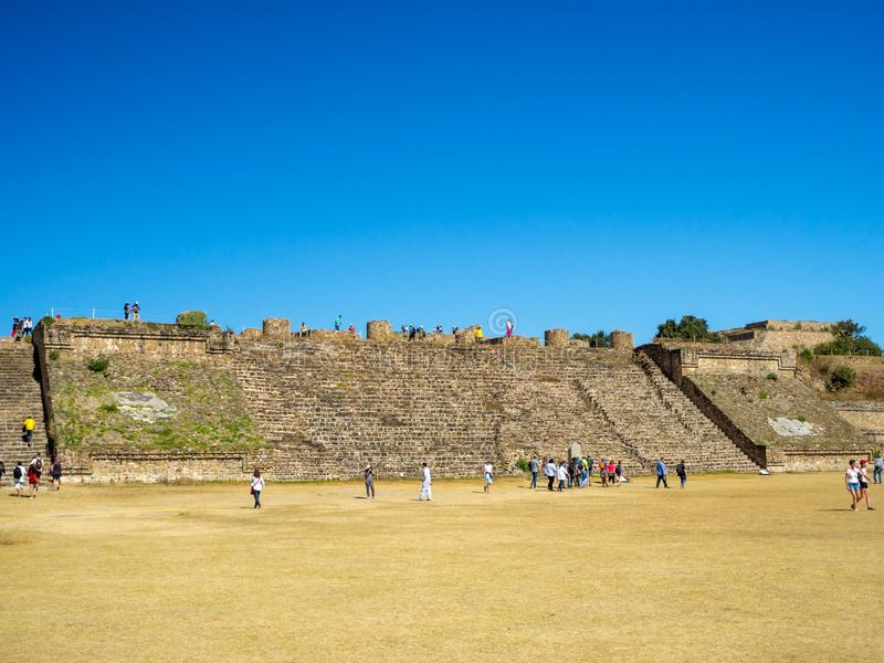 Monte Alban, Oaxaca, Mexico, South America - January 2018: [Biggest ruins of ancient Zapotec city at the top. Of the mountain, UNESCO archeological site royalty free stock image