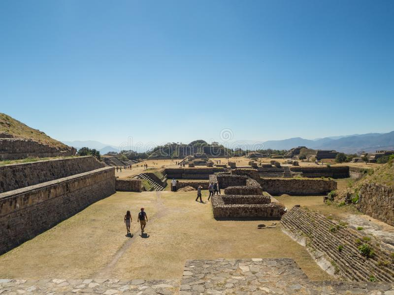 Monte Alban, Oaxaca, Mexico, South America - January 2018: [Biggest ruins of ancient Zapotec city at the top of the mountain, UNES royalty free stock photo