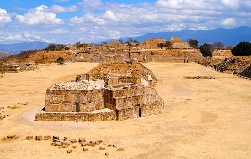 Monte Alban ruins. Ancient ruins of Monte Alban near the city of Oaxaca, Mexico royalty free stock images