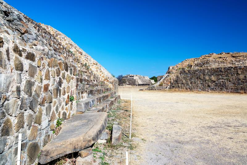 Monte Alban Temples. Beautiful blue sky and ancient temples in Monte Alban in Oaxaca, Mexico stock photo