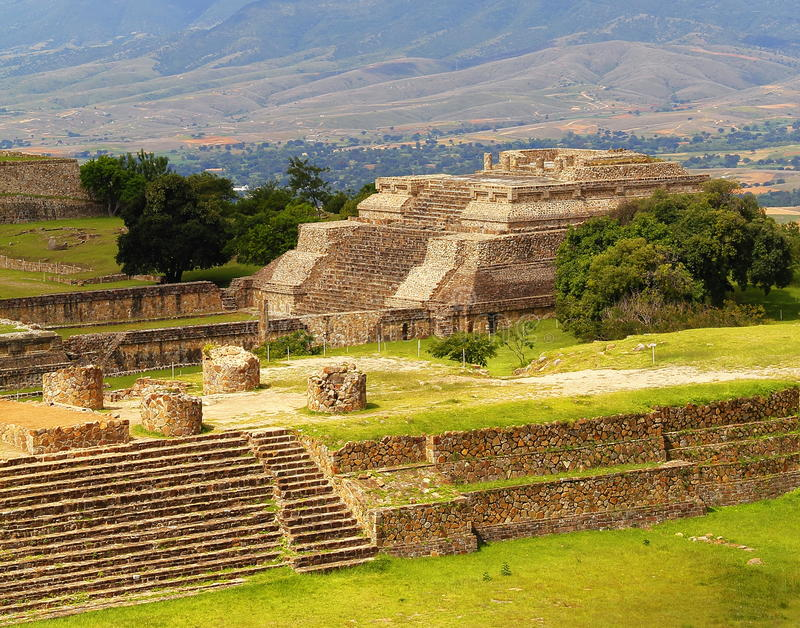 Monte alban VI. Archeological site of Monte Alban located near the city of Oaxaca in the mexican state of Oaxaca stock photo