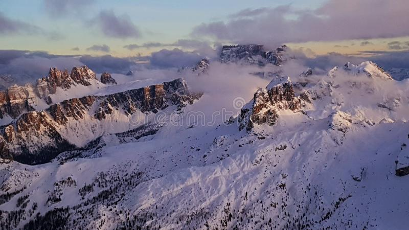 Monte Antelao & Monte Civetta. Seen at sunset from Lagazuoi rifugio, South Tirol. Italy stock photo