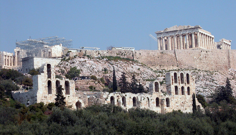 Monte Atenas do Acropolis foto de stock
