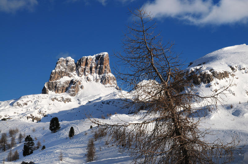 Monte Averau in winter, the highest mountain of the Nuvolau Group in the Dolomites, located in the Province of Belluno. Italy. royalty free stock photography