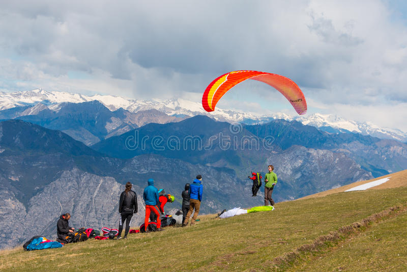 Monte Baldo. Flew wings or paragliding at Monte Baldo, Lake Garda, Italy. Monte Baldo is a mountain range in the Italian Alps royalty free stock images