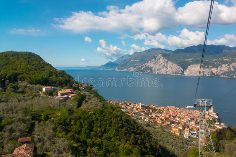 Monte Baldo. Funicular in Malcesine up to Monte Baldo, Lake Garda, Italy. Monte Baldo is a mountain range in the Italian Alps royalty free stock image