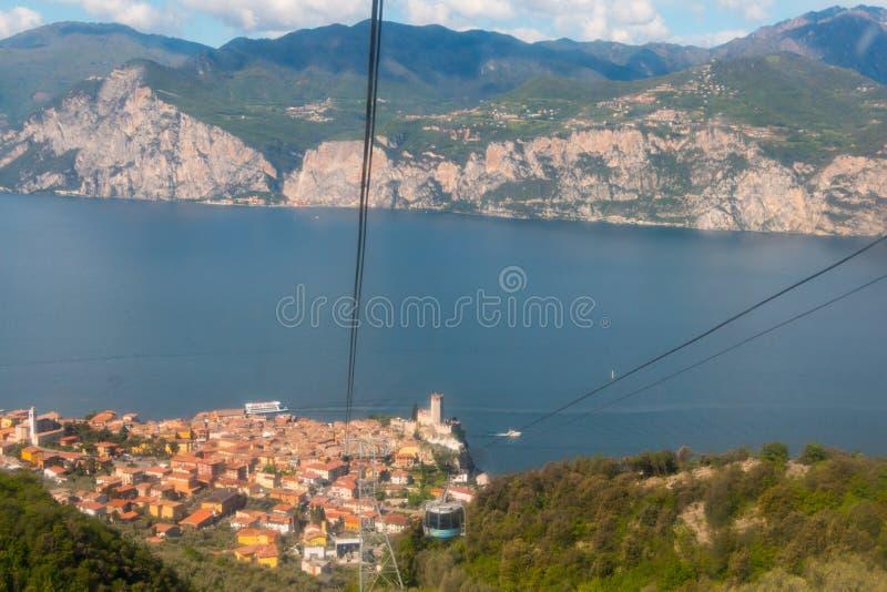 Monte Baldo. Funicular in Malcesine up to Monte Baldo, Lake Garda, Italy. Monte Baldo is a mountain range in the Italian Alps stock images