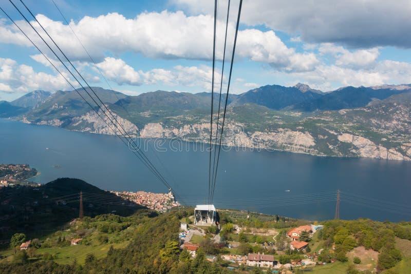 Monte Baldo. Funicular in Malcesine up to Monte Baldo, Lake Garda, Italy. Monte Baldo is a mountain range in the Italian Alps stock photos