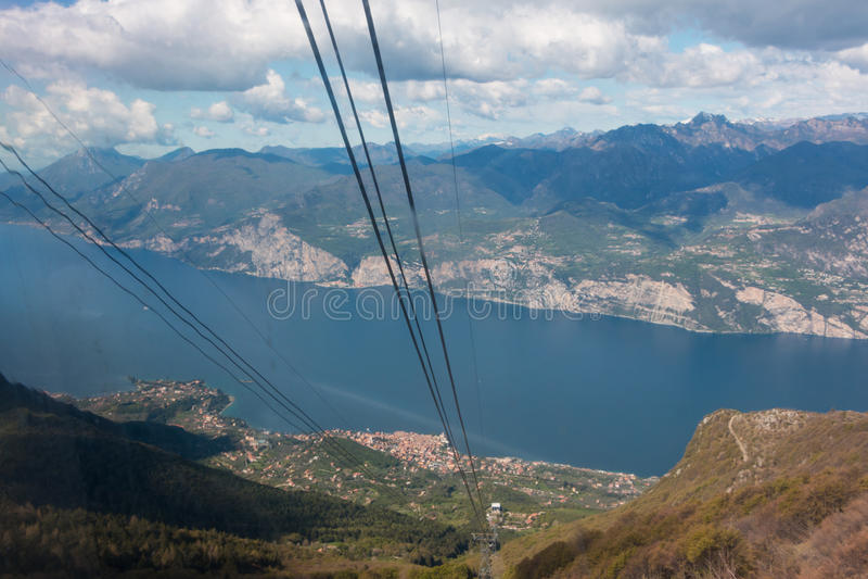 Monte Baldo. Funicular in Malcesine up to Monte Baldo, Lake Garda, Italy. Monte Baldo is a mountain range in the Italian Alps royalty free stock photo