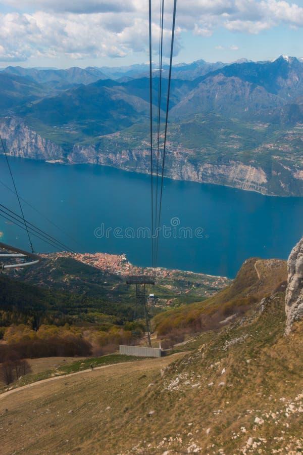 Monte Baldo. Funicular up to Monte Baldo, Lake Garda, Italy. Monte Baldo is a mountain range in the Italian Alps stock photo