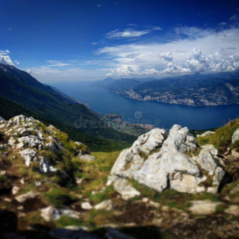 Monte Baldo Italy. Lake Garda view from the peak of Monte Baldo royalty free stock photos