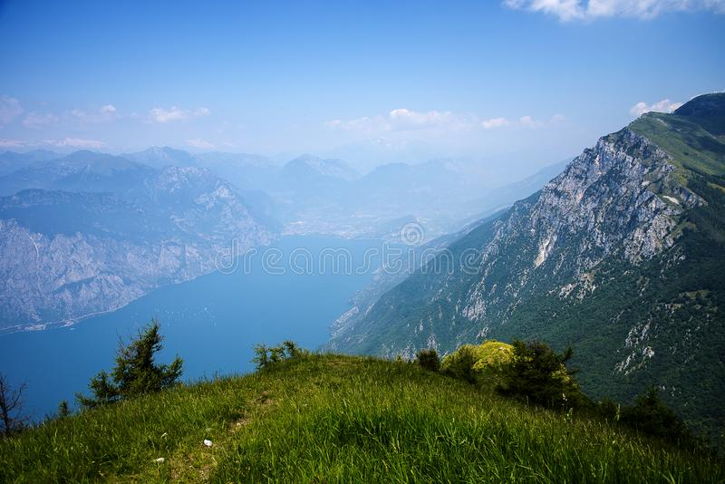Alpine meadows with wild flowers on the summit of Monte Baldo in Italy. Monte Baldo, know since 1500 by the name of `Hortus Italiae`, is a treasure chest where royalty free stock photos