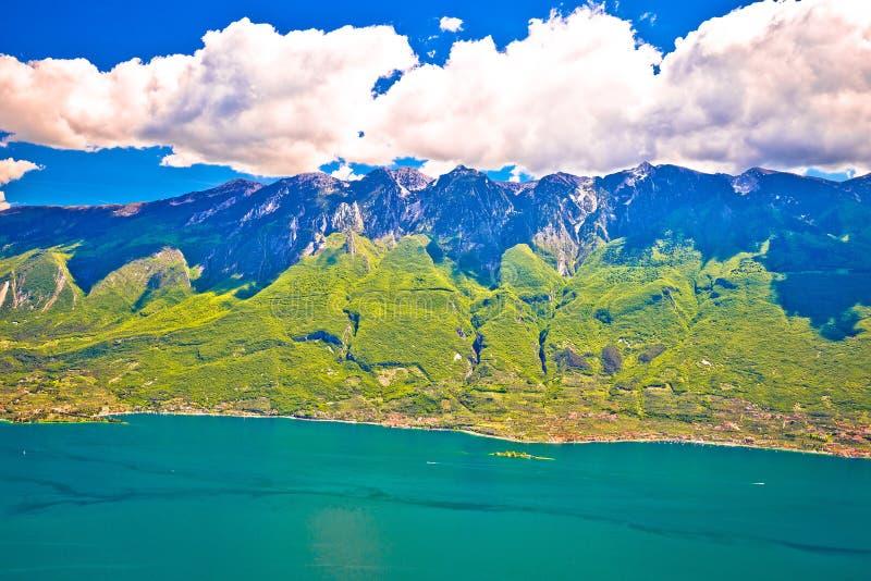 Monte Baldo mountain above Malcesine and Lago di Garda panoramic. View, Trentino Alto Adige region of Italy royalty free stock photo