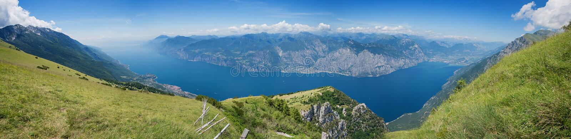 Monte baldo panorama view, italy. Hiking area monte baldo and view to garda lake, italy stock image