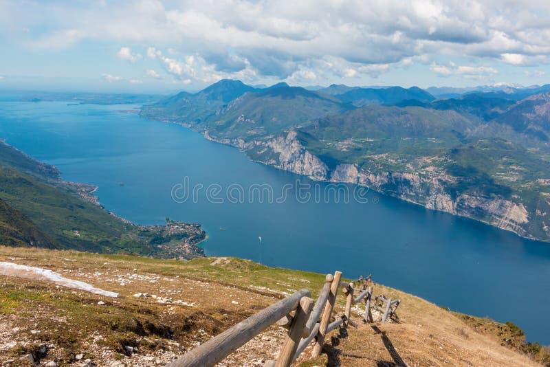 Monte Baldo. View from Monte Baldo over Lake Garda, Italy. Monte Baldo is a mountain range in the Italian Alps stock photography