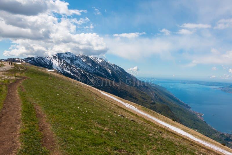 Monte Baldo. View from Monte Baldo over Lake Garda, Italy. Monte Baldo is a mountain range in the Italian Alps royalty free stock photo