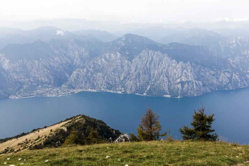 On Monte Baldo. View over the Lake Garda, Lago di Garda, from the Monte Baldo, Italy royalty free stock image