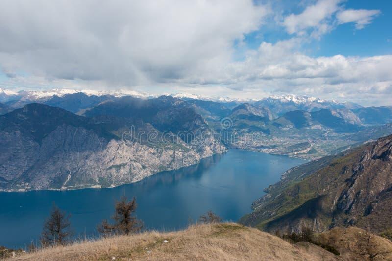 Monte Baldo. View from Monte Baldo over Riva del Garda, Lake Garda, Italy. Monte Baldo is a mountain range in the Italian Alps stock photography