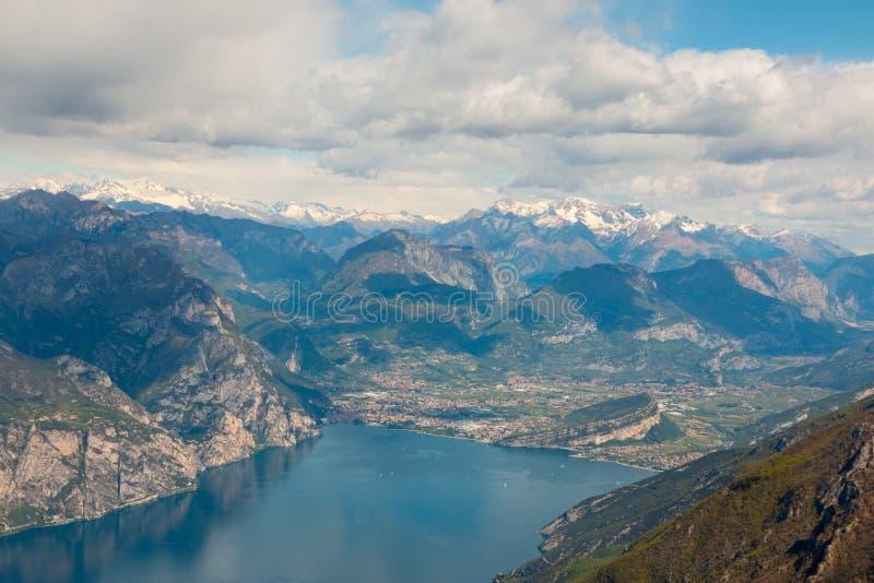 Monte Baldo. View from Monte Baldo over Riva del Garda, Lake Garda, Italy. Monte Baldo is a mountain range in the Italian Alps royalty free stock image