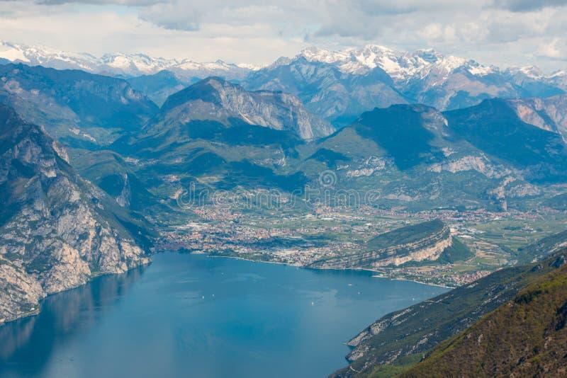 Monte Baldo. View from Monte Baldo over Riva del Garda, Lake Garda, Italy. Monte Baldo is a mountain range in the Italian Alps stock images