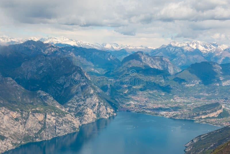 Monte Baldo. View from Monte Baldo over Riva del Garda, Lake Garda, Italy. Monte Baldo is a mountain range in the Italian Alps royalty free stock images