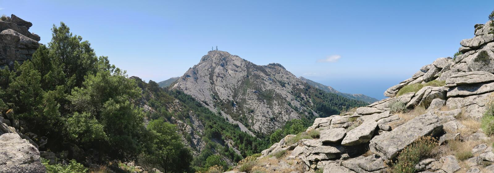 Monte Capanne peak from the east side on the island Elba royalty free stock photos